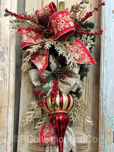 christmas swags ideas  pinterest front door