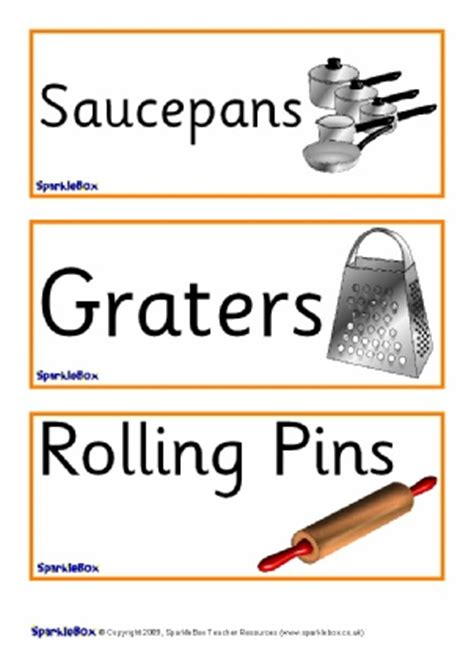 Kitchen Area Labels Primary School Kitchen Cooking Area Signs Labels And