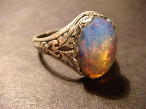 victorian style fire opal antique silver ring adjustable