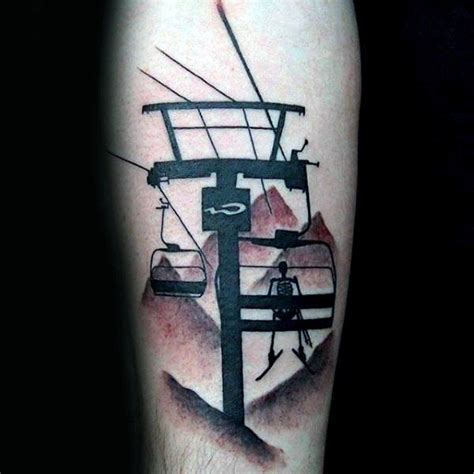 60 skiing tattoos for men a gondola lift to design ideas