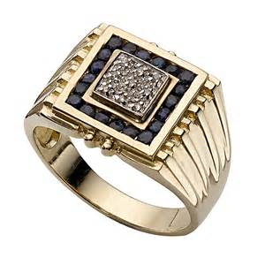 mens ring s 9ct gold sapphire and signet ring h samuel