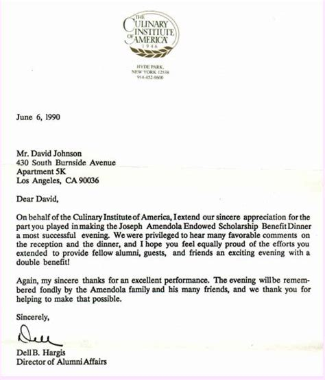 Thank You Letter For Alumni Donation Pro Chef David Johnson Culinary Institute Of America Graduate