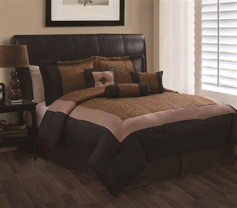 7pc queen oliver brown and black jacquard comforter set