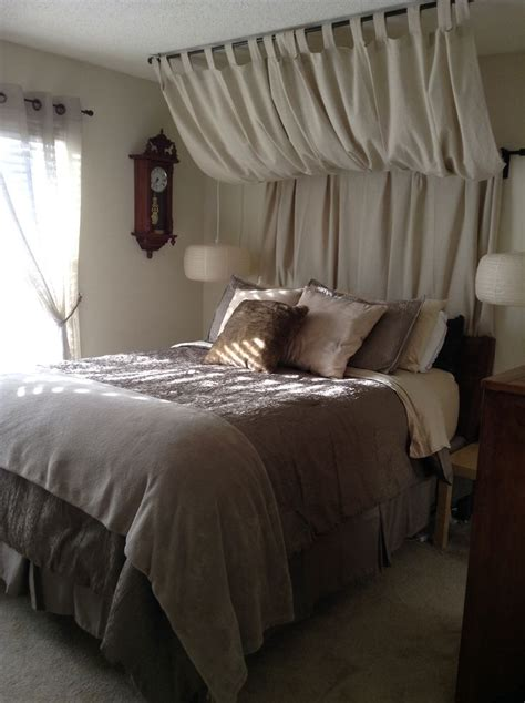 curtain headboard ideas best 25 curtain rod headboard ideas on pinterest