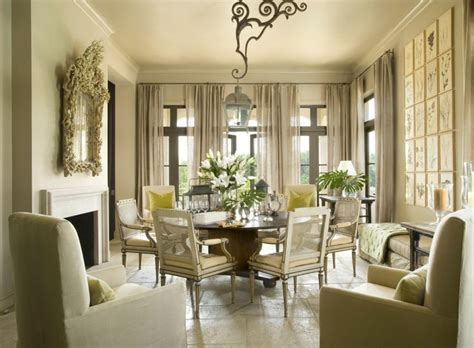Veranda Magazine Dining Rooms by Botanical Green Taupe And Layers Of Texture Interior