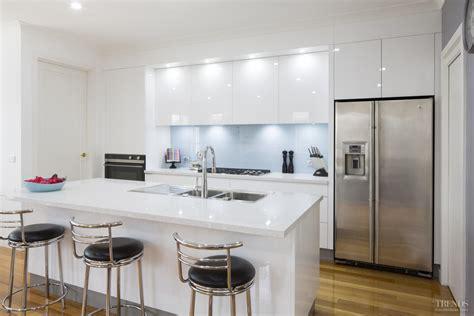 white kitchens with glass splashbacks sleek contemporary white kitchen with pale blue glass
