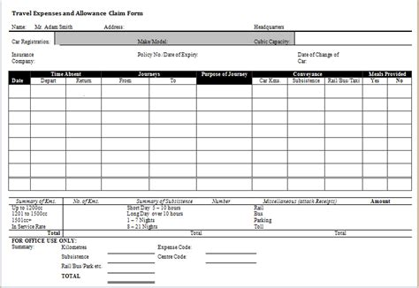 ms word excel expense claim forms microsoft word