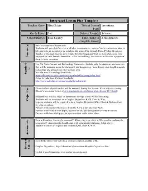 technology integration lesson plan template 28 integrated lesson plan template reflection