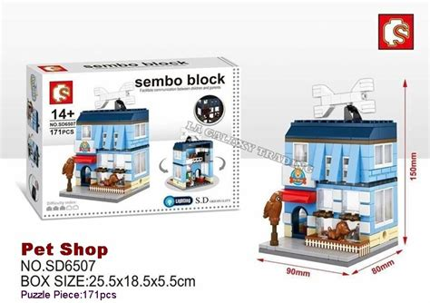 sembo block sd6507 pet shop city building block with led