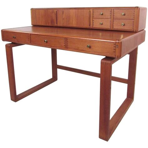 modern desk legs mid century modern sled leg teak desk at 1stdibs