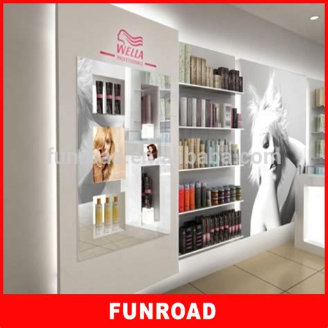 customized hair salon slat wall cabinet manufactured by