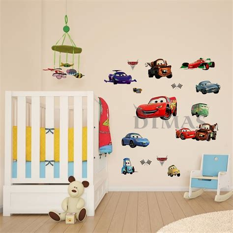disney wall stickers for bedrooms large disney cars wall stickers boys lightning mcqueen bedroom decor decals ebay