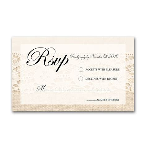 burlap wedding invitations with rsvp lace and burlap 5x7 wedding invitation and rsvp card