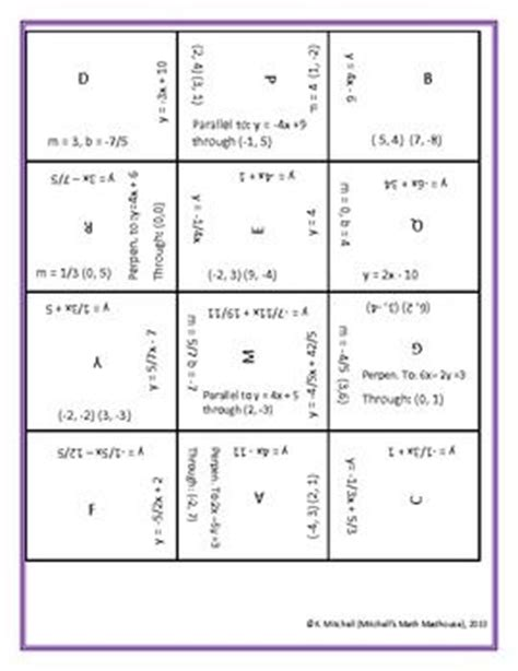 equations puzzle worksheet writing linear equations puzzle equation puzzles and writing