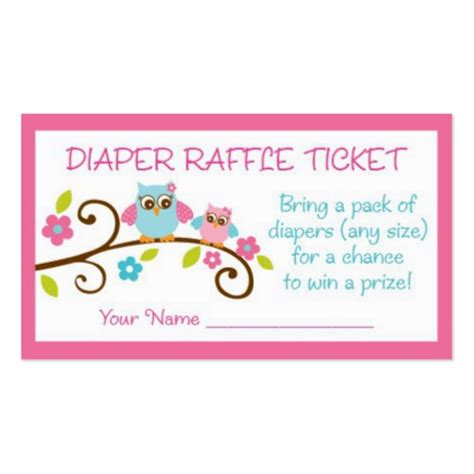 baby raffle ticket template baby owl raffle tickets business card zazzle