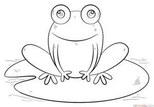 draw frog lily pad step step drawing tutorials