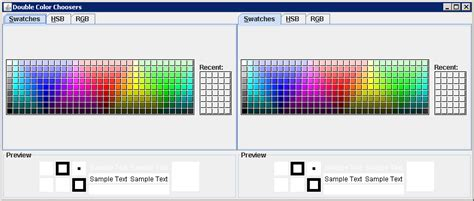 colors in java swing changing the color chooser panels jcolorchooser 171 swing