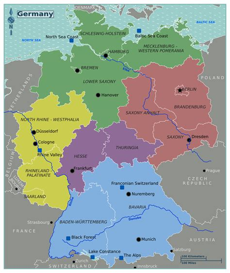 regions on a map large regions map of germany germany europe mapsland
