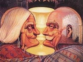 Vintage Lady Head Vase Face Illusions