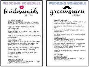 Bridesmaid Itinerary Template by Schedules For The Wedding Wedding Day Pins You