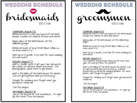 schedules for the wedding party wedding day pins you