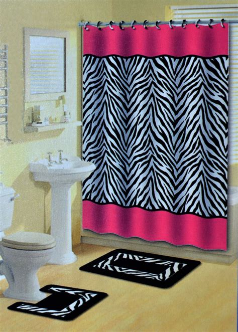 pink zebra stripes animal print  pcs shower curtain