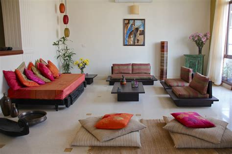 low seating living room home is where the art is upasana deb s penthouse in gurgaon