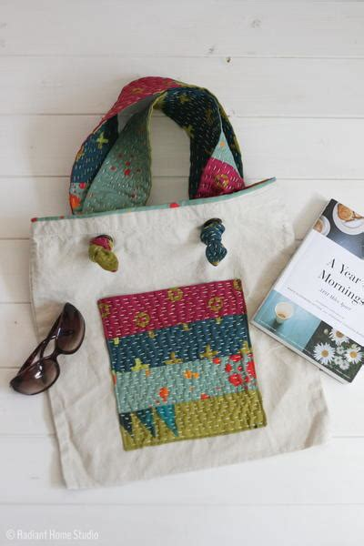 Handmade Bag Tutorial - kantha inspired tote bag tutorial allfreesewing
