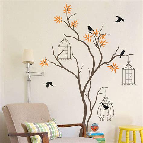 Christmas Tree Wall Mural tree with birds and birdcage wall decal by wall art