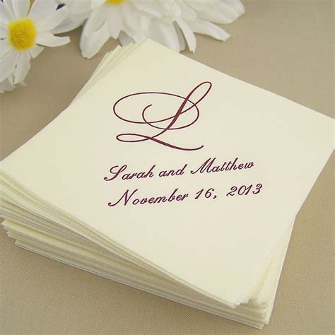 Linen Look Cocktail Napkins Personalized   My Wedding