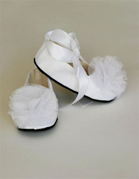 satin flower shoes white satin baby shoe toddler couture ballet slipper