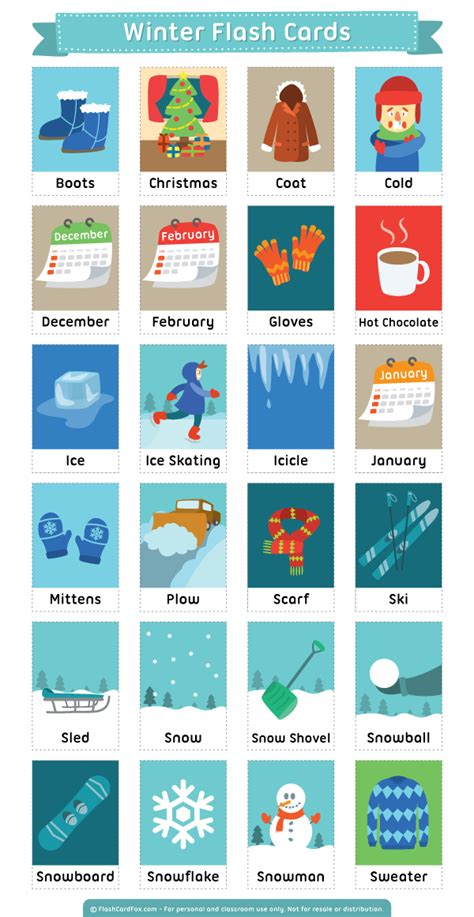 free printable winter note cards printable winter flash cards