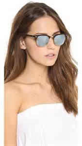 Women s brown mirrored clubmaster sunglasses sand havana grey mirror