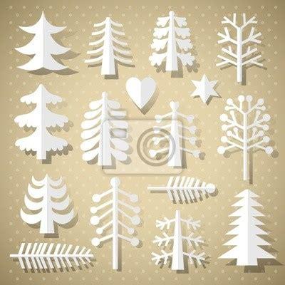 wall mural christmas trees of white paper christmas tree