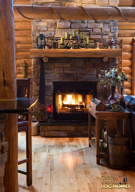 Fireplace Log Kits by Golden Eagle Log Homes Log Home Cabin Pictures Photos