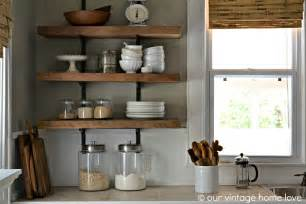 kitchen shelves our vintage home love reclaimed wood kitchen shelving reveal