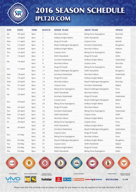 ipl time tables 2017 ipl 2016 time table download calendar template 2016