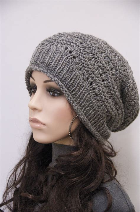knit slouchy hat knit hat charcoal chunky wool hat slouchy hatwool by maxmelody