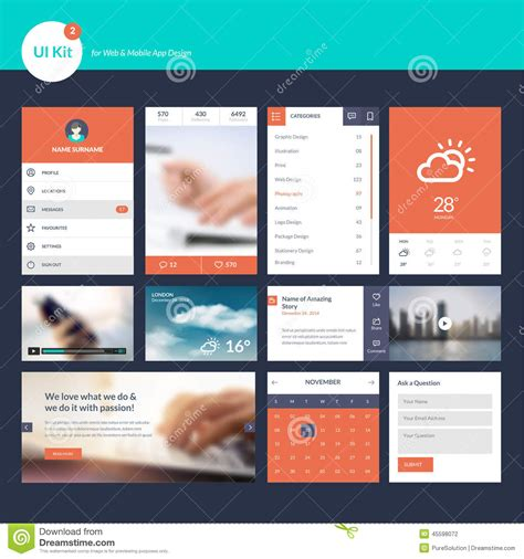 app design elements vector set of flat design ui and ux elements for web and app