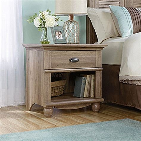 sauder harbor view  drawer salt oak nightstand   home depot