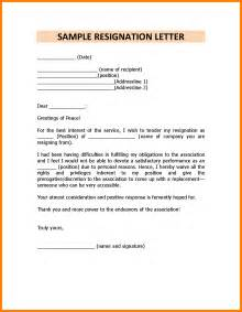 Exles Of Resignation Letters For Personal Reasons by 7 Sle Resignation Letter For Personal Reason Joblettered