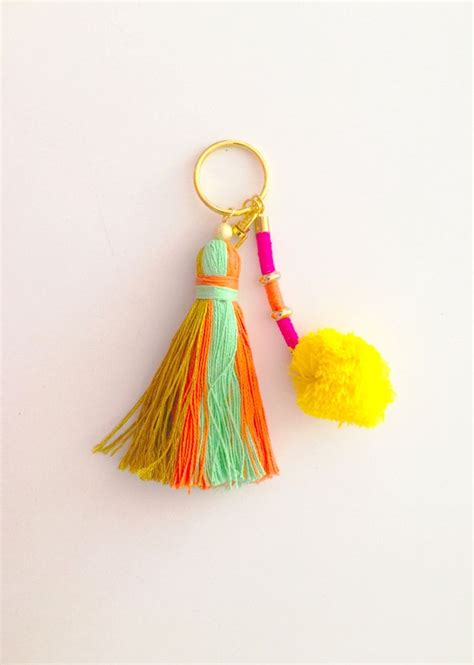 Tassel Earring Key boho chic pom pom tassel keychain multi color tassel by peaceboutiq on etsy https www etsy