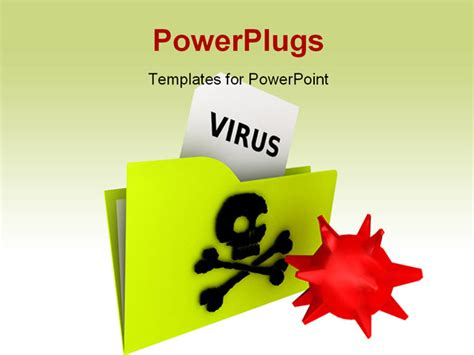 virus powerpoint template illustration of a computer virus folder rendering image