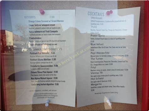 werkstatt menu werkstatt european restaurant in prospect park