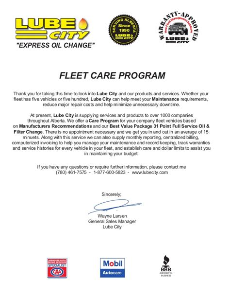 Fleet Services Manager Cover Letter by Fleet Services Fleet Care Letter