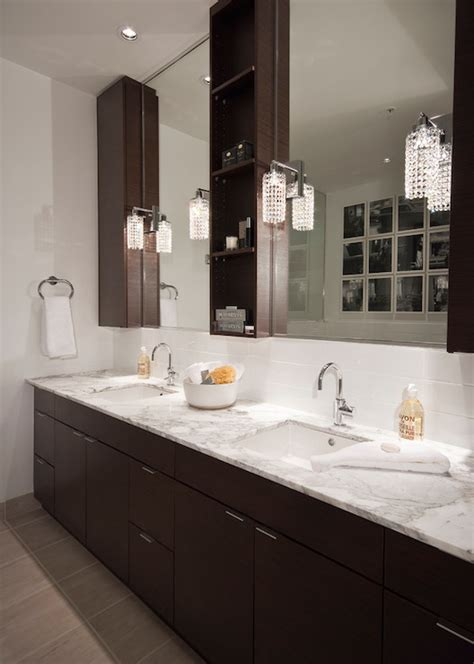 Espresso Vanity With White Marble Tops Design Ideas