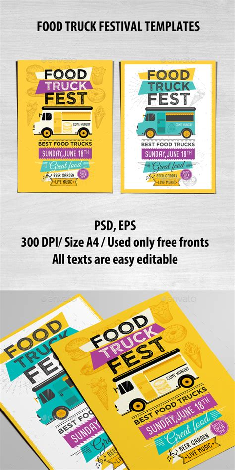 Food Truck Template By Barcelonadesignshop Graphicriver Food Truck Menu Template