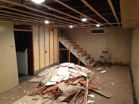 Gut The Basement Prepare For Floating Stairs Handy Father Building Basement Stairs
