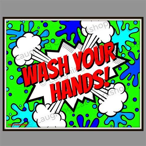 Wash your hands funny kid bathroom art superhero comic art