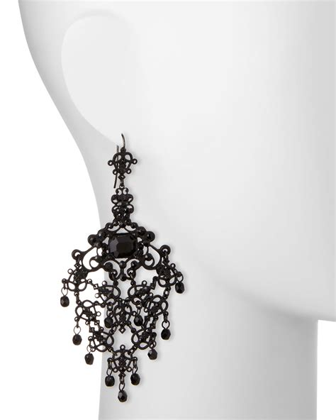 Gunmetal Chandelier Earrings Jose Barrera Gunmetal Filigree Chandelier Earrings In Metallic Lyst